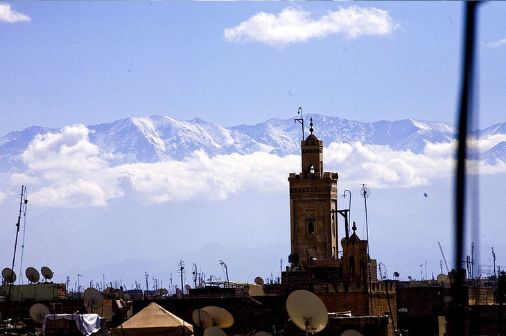 Marrakesh with Atlas mountains in the background