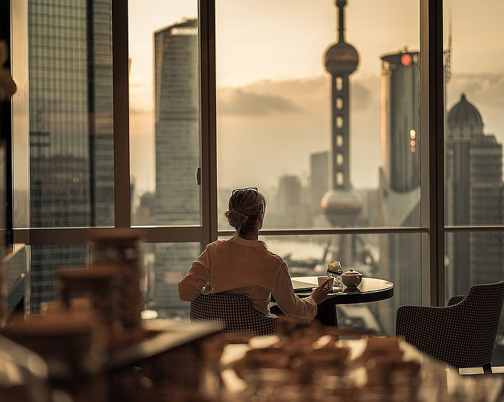 Four Seasons Hotel Pudong dining with panoramic Shanghai views