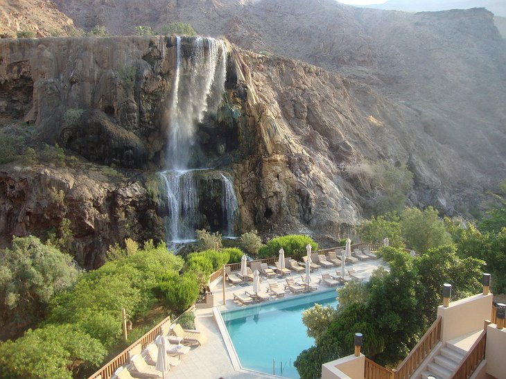 Ma'in Hot Springs panoramic view on the pool