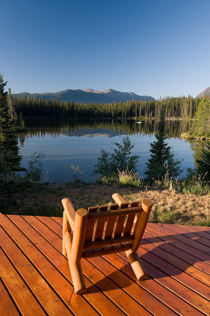 Wooden chair with view on Chilko Lake