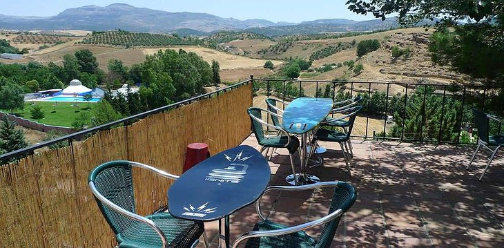 Hotel EnFrente Arte terrace with views on the hills of Ronda
