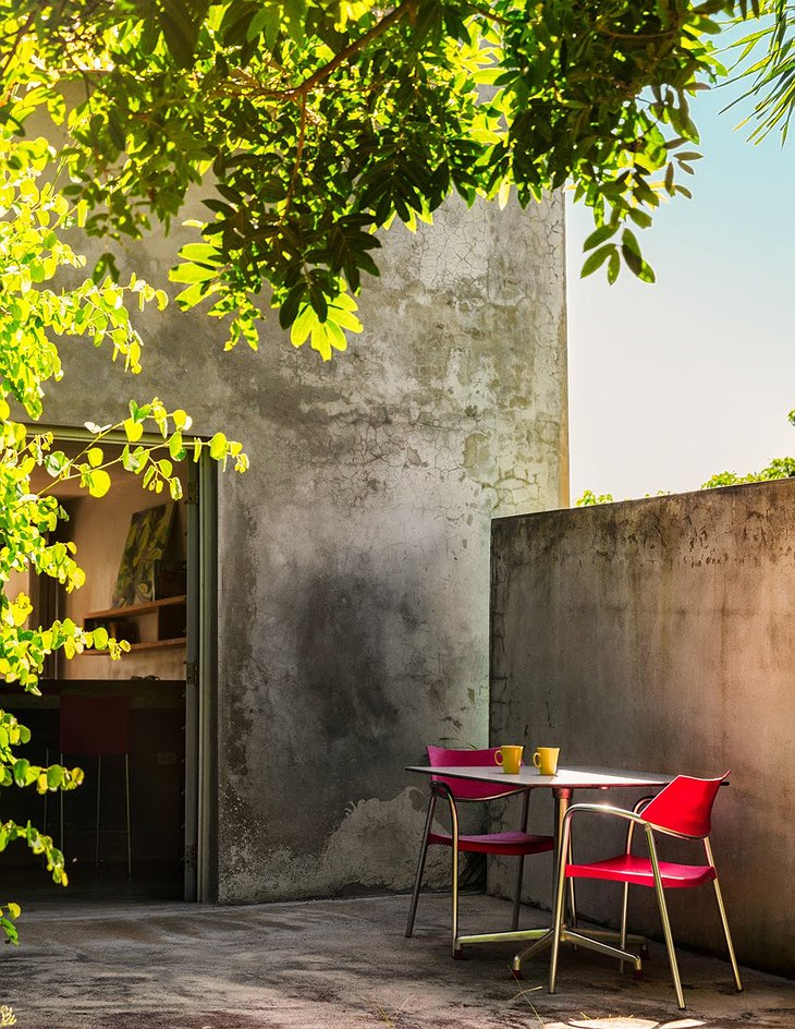 Triangular house small concrete terrace