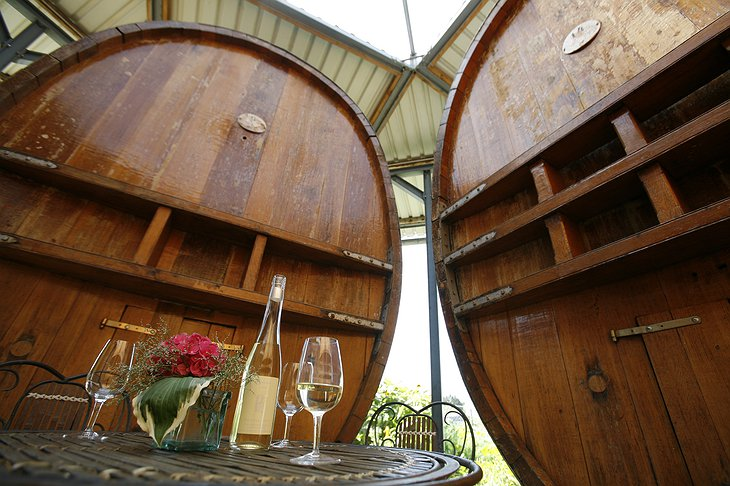 Waldmeier's Fasshotel barrels with wine on the table