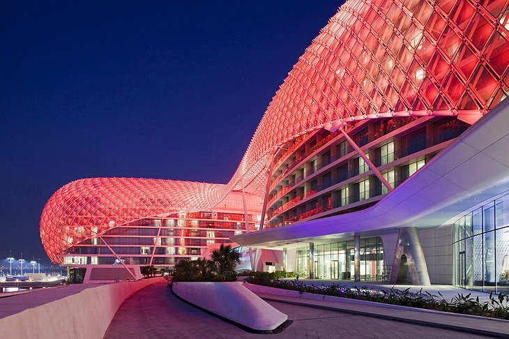 Glowing facade of Yas Viceroy hotel
