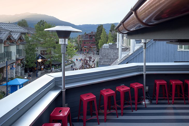 Pangea Pod Hotel Rooftop Patio Overlooking Whistler