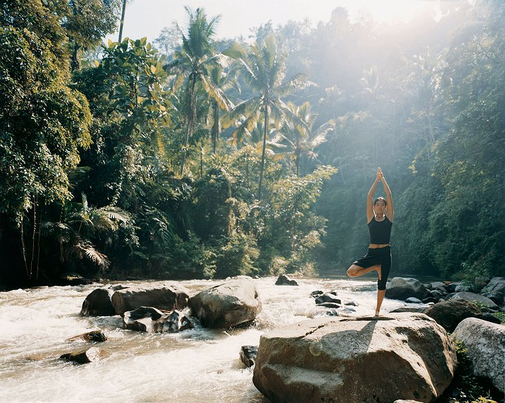 Yoga at the river in Bali