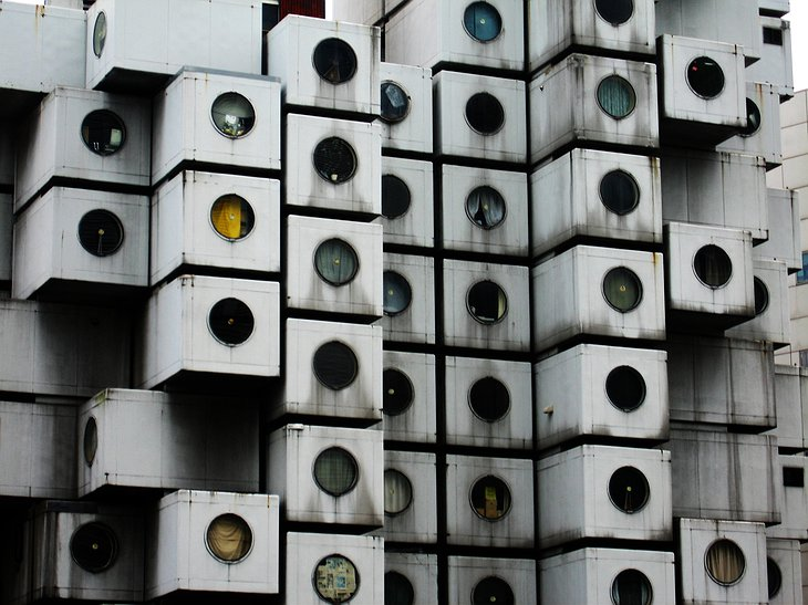 Nakagin Capsule Tower facade details