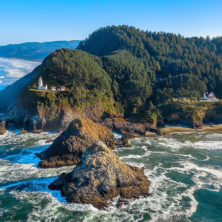 Heceta Head Lighthouse Drone View
