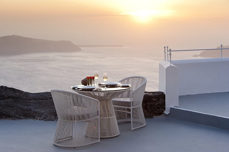Grace Santorini romantic dinner with sea view