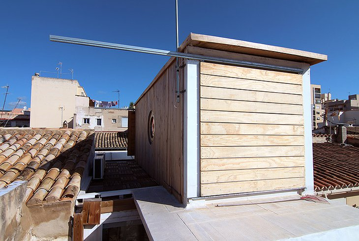 Container Home on the rooftop of a building