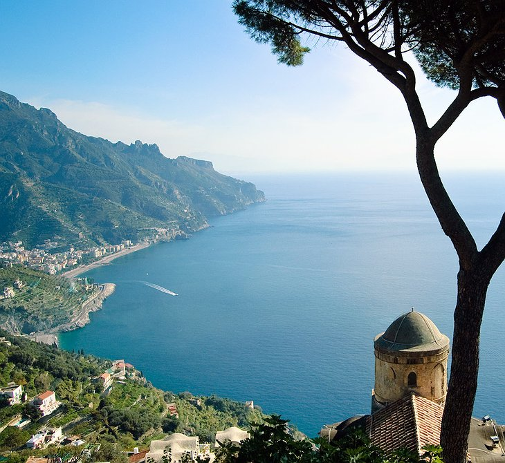 View on Positano and the Mediterranean sea from above