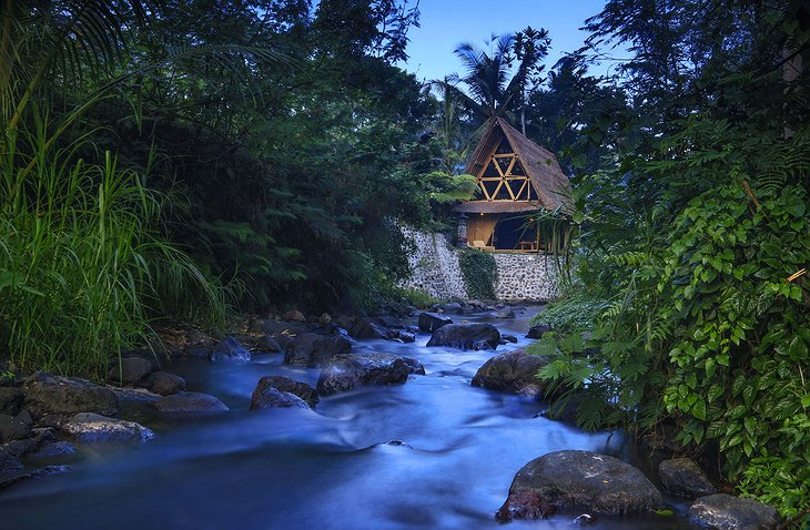Hideout Bali bamboo house at the river