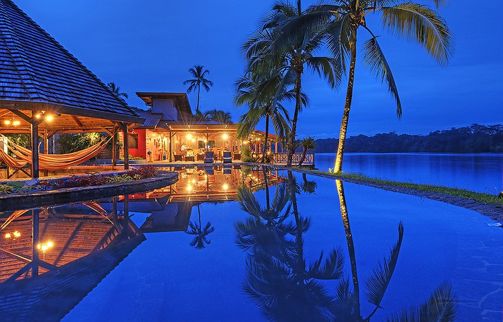 Tortuga Lodge pool at night