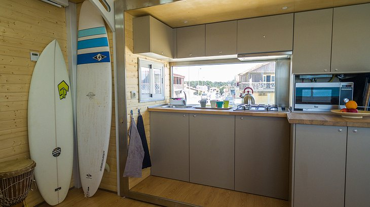 Truck Surf Hotel kitchen and surf boards
