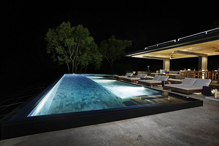Kura Design Villas pool at night