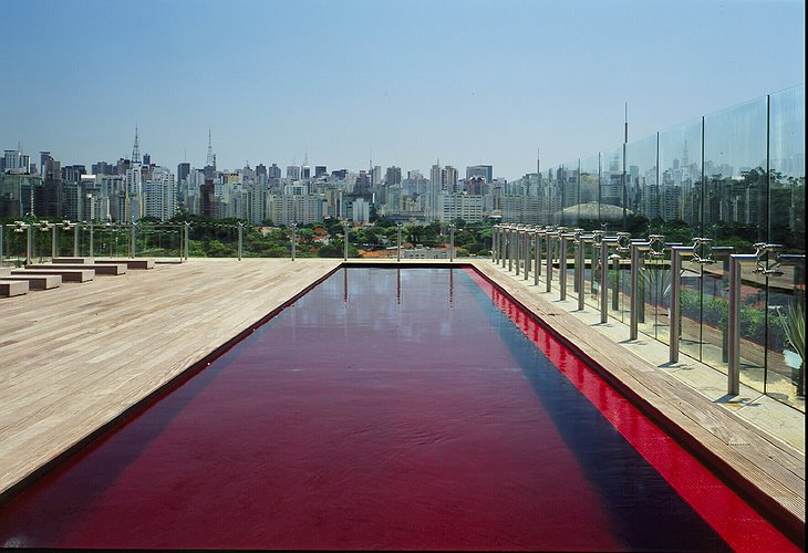 Hotel Unique rooftop red swimming pool