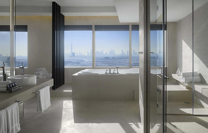 InterContinental Dubai Festival City bathroom with Burj Khalifa panorama