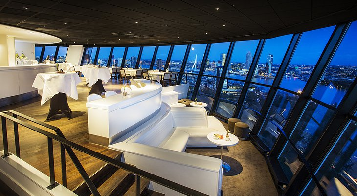 Euromast observation tower restaurant in the evening