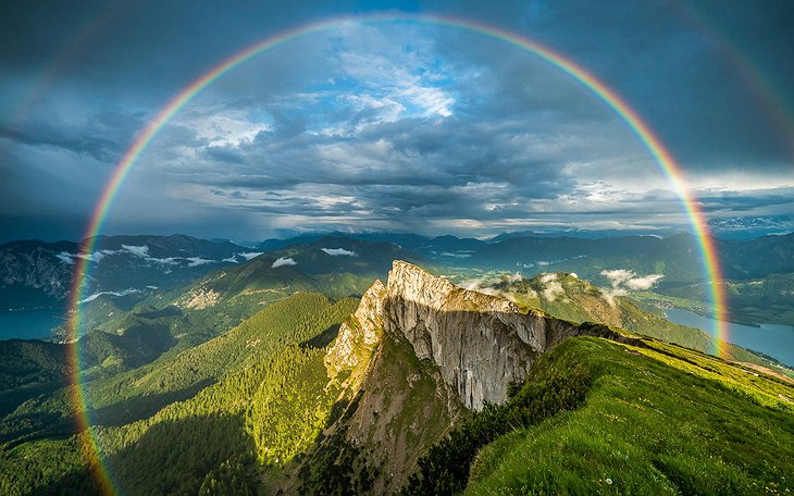 Schafberg mountain with rainbow