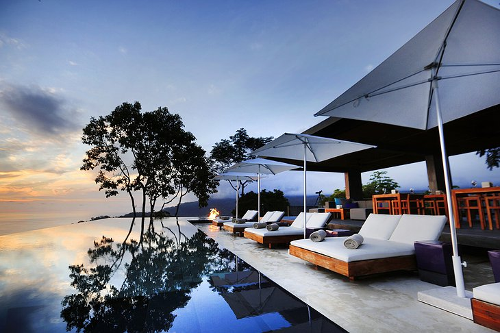 Kura Design Villas terrace at sunset