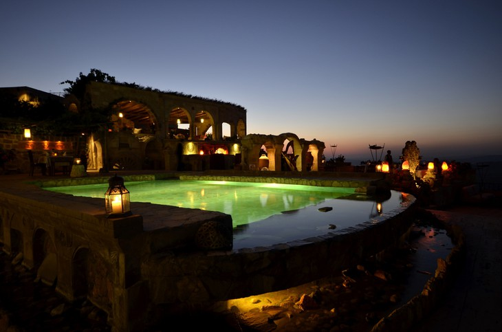 Museum Hotel Cappadocia swimming pool at night