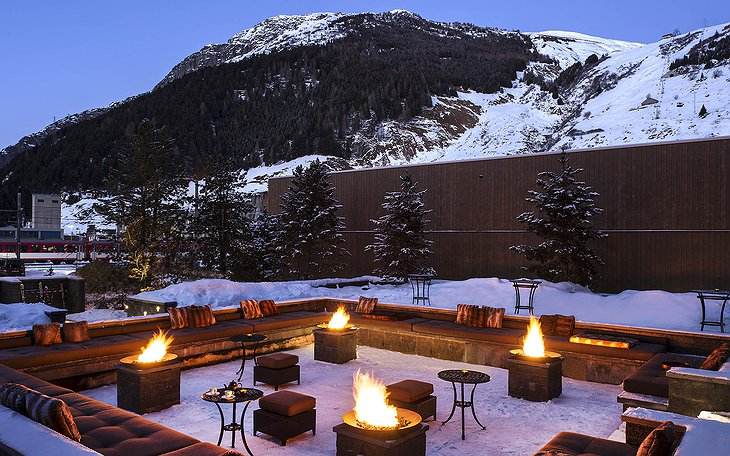 The Chedi Andermatt outdoor fireplaces