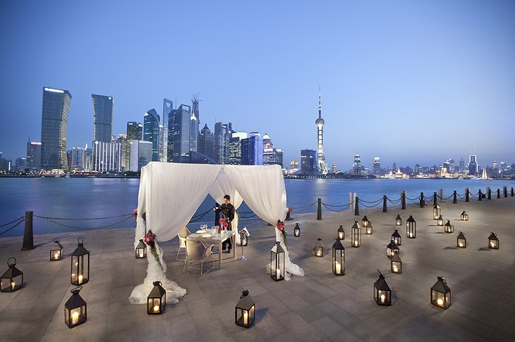 Dining on the rooftop with Shanghai panorama