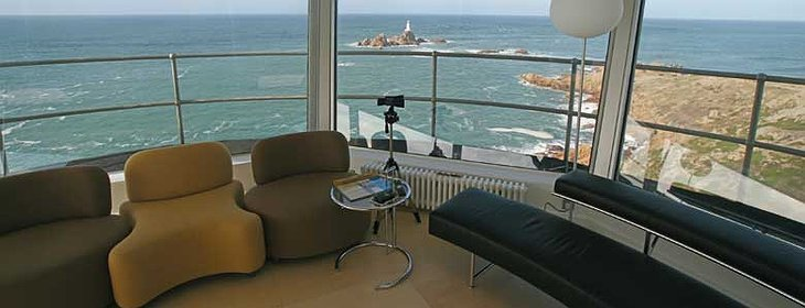 La Corbiere Radio Tower living room with view on the lighthouse tower