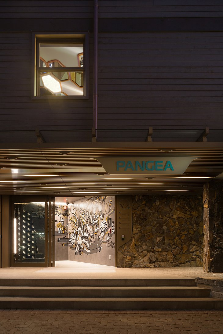 Pangea Pod Hotel Main Entrance at Night