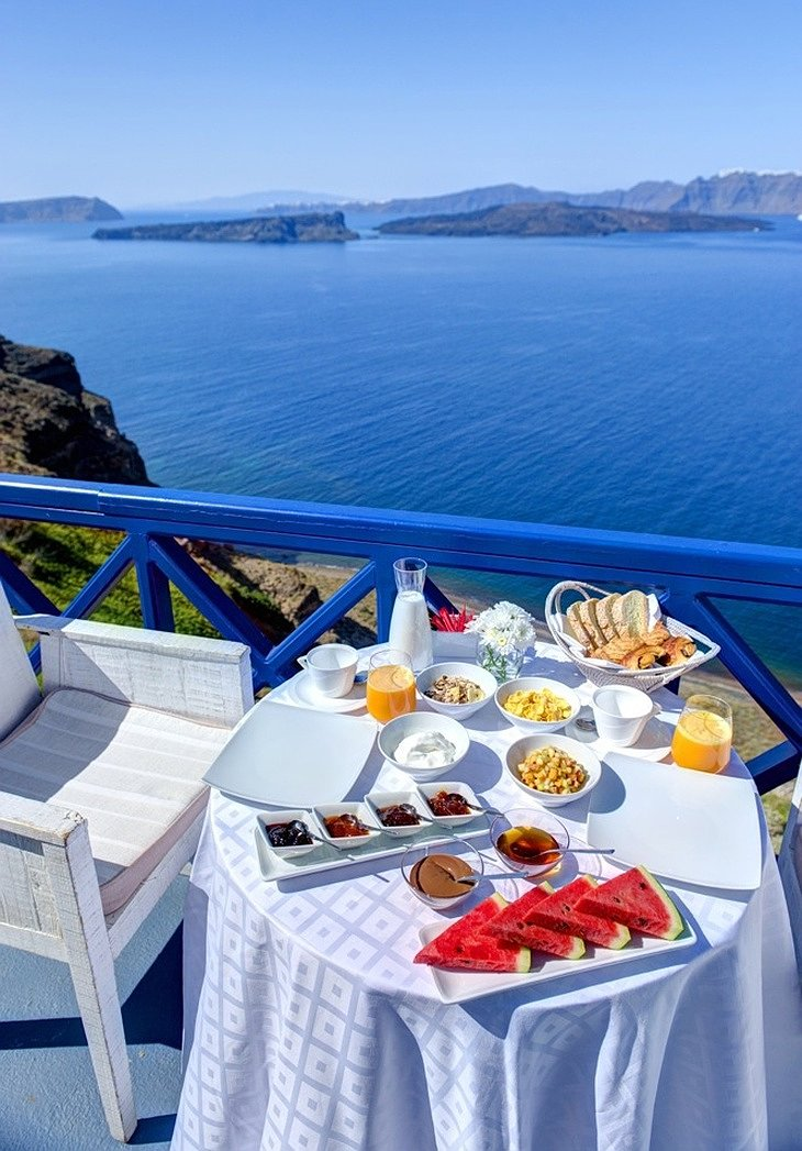 Breakfast on the cliff in Santorini