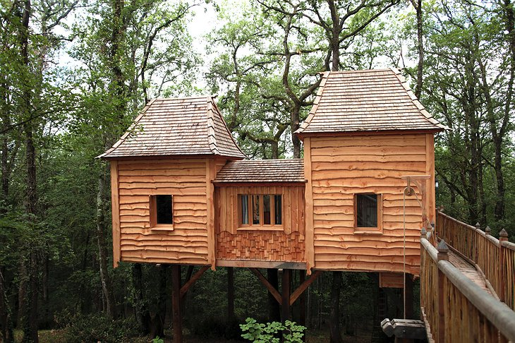 Wooden castle treehouse
