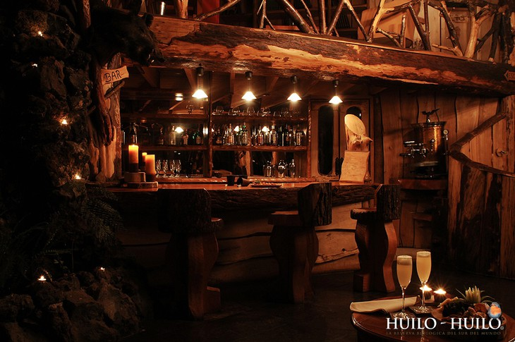 Wooden bar at Montana Magica Lodge