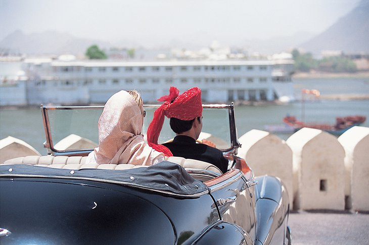 Arriving in a vintage car to Udaipur