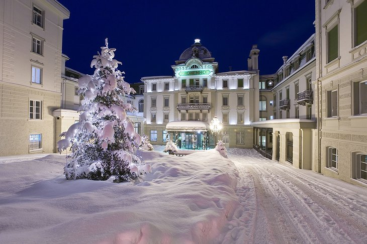 Grand Hotel Kronenhof entrance in the winter