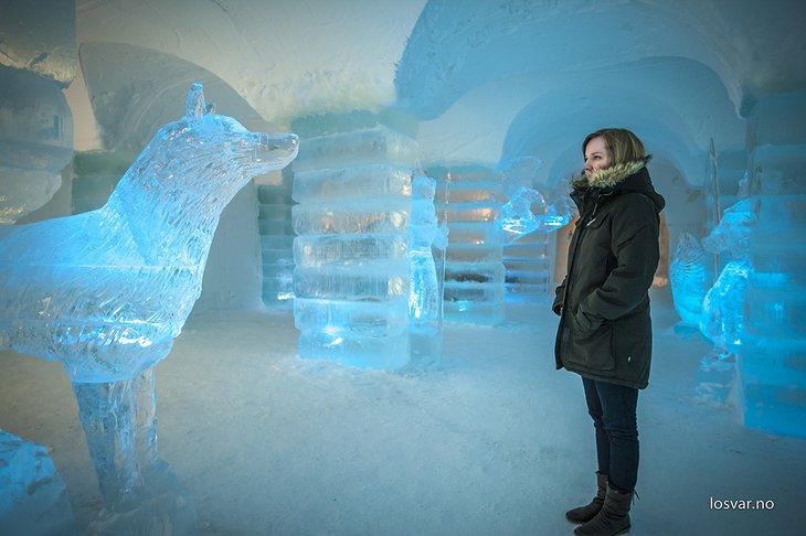 Ice igloo and a girl