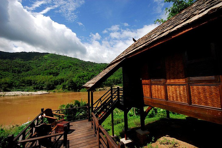 Bungalow in Laos next to Mekong river