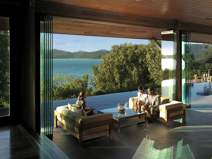 Qualia Hamilton Island lounge table with sea views