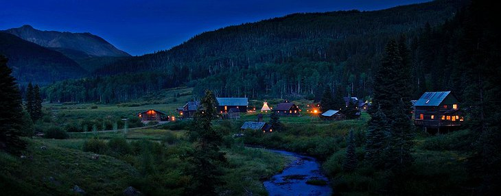Dunton Hot Springs village at night