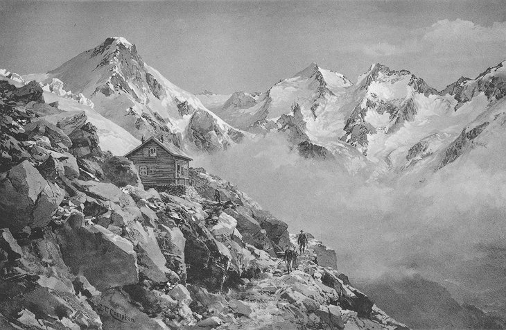 Drawing of Mischabel Hut in the beginning of the 20th century