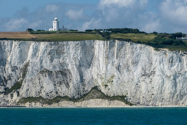 White Cliffs of Dover and the South Foreland Lighthouse on the top