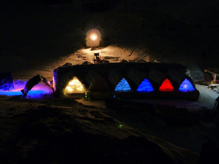 Ice Hotel Romania by night