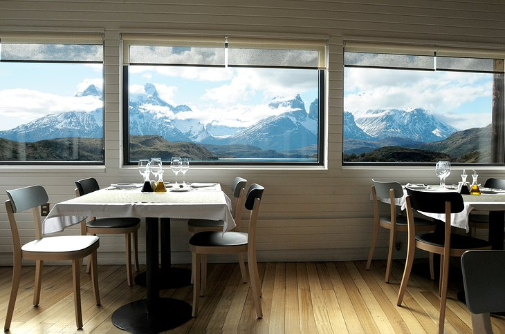 Explora Patagonia Hotel table with view on Andes