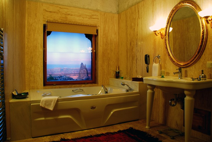 Bathroom with view on Cappadocia