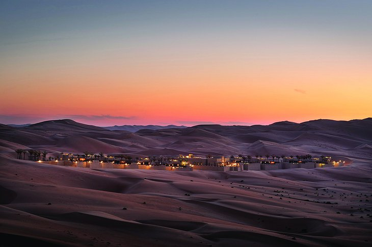Qasr Al Sarab Desert Resort between the sand dunes