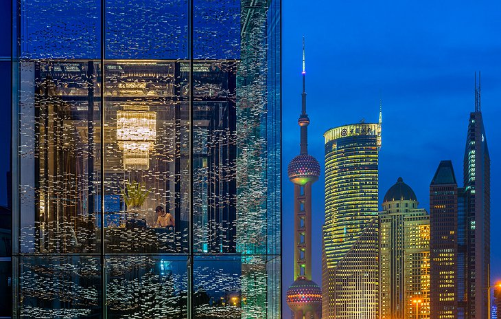 Four Seasons Hotel Pudong see through facade and Shanghai skyline