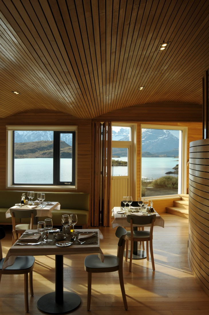 Wooden interior of Explora Patagonia Hotel