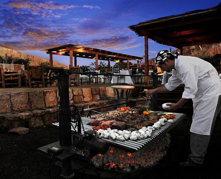Alto Atacama chef cooking outside