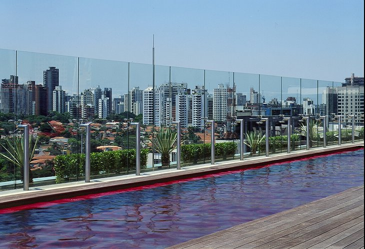 Hotel Unique rooftop swimming pool with breathtaking view on Sao Paulo