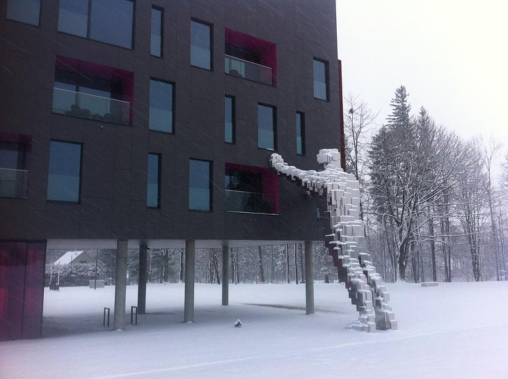 Miura Hotel in winter with contemporary art statue