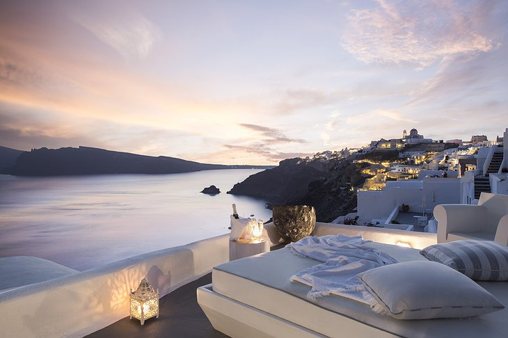 Kirini Santorini rooftop terrace panoramic view in the evening